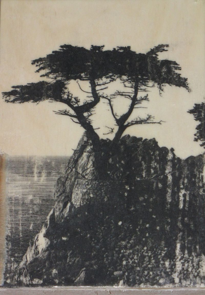 Lone cypress encaustic